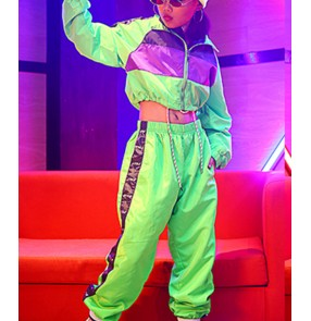 Girls none green hiphop jazz dance costumes stage performance modern dance gogo dancers street dance stage performance tops and pants
