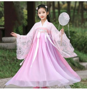 Girls pink princess chinese hanfu fairy drama cosplay robes stage performance china fairy kimono dress for kids