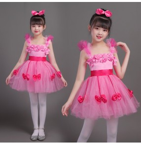 Girls pink princess dress modern dance host singers school choir dress costumes for children robe chorale pour filles