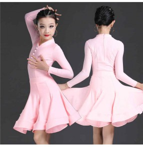 Girls pink purple competition Latin dance dresses children's training professional competition practice clothing kids ballroom dance performance dresses
