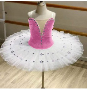 Girls pink with white velvet tutu skirts ballet dance dresses classical pancake ballerina ballet dress stage performance photos shooting ballet dance costumes