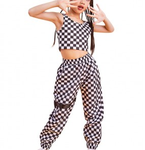 Girls plaid hip-hop modern jazz dance outfits costumes kids children stage performance outfits
