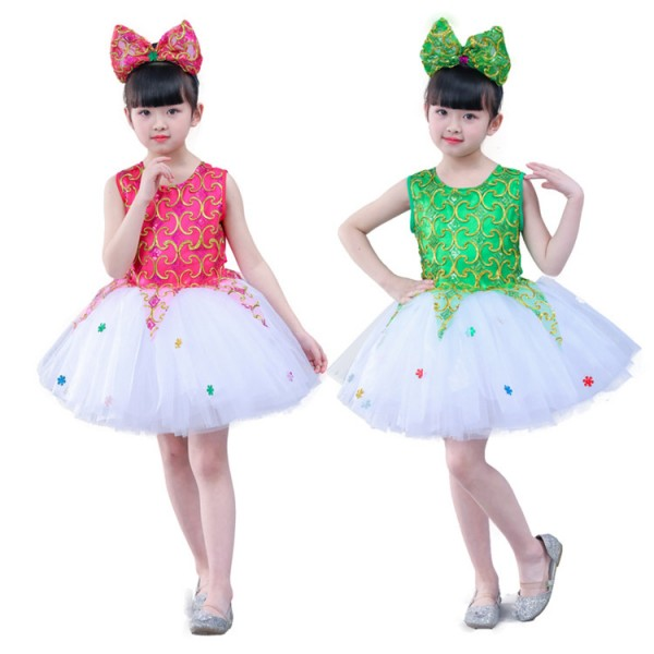 Girls princess ballet jazz modern dance dress costumes kids sequin flower  girls host stage show performance dress costumes