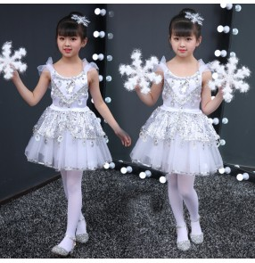 Girls princess jazz dance dresses fairy singers stage performance chorus choral costumes