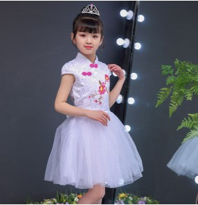 Girls princess modern dance dresses kids children pink white stage performance qipao flower girls chorus dresses