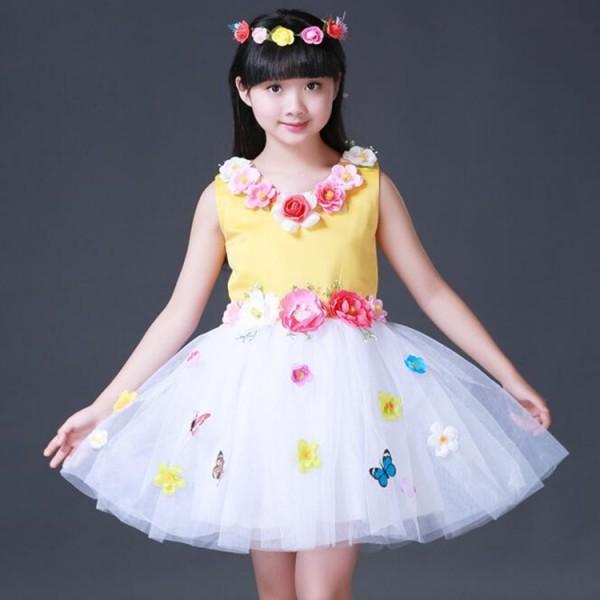 ced5bb860321 Girls princess modern jazz dance dresses fairy flower girls stage ...