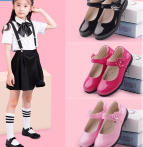 Girls Pu leather shoes princess chorus stage performance shoes Black student choir performance shoes for kids