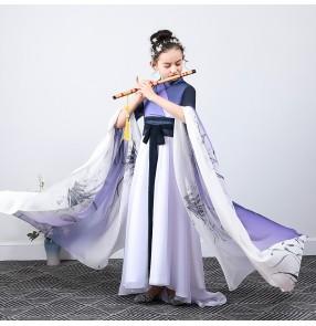 Girls purple gradient hanfu fairy dress guzheng flute singers model show performance dress for kids waterfall sleeves chinese classical dance costume for girl