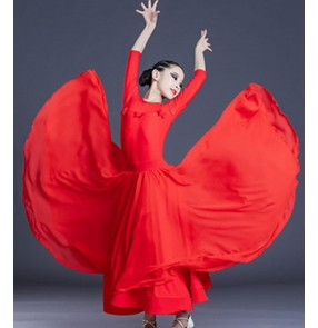 girls Red ballroom dance dress for kids children modern waltz tango dance dress for kids