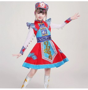 Girls red colored Mongolian Dance dresses Children Mongolian dance skirts kids Ethnic Mongolia performance robe