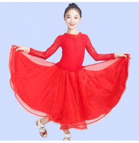 girls red royal blue Lace ballroom dance dress for kids ballroom dance costumes stage performance modern dance dress