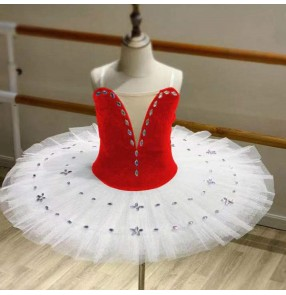 Girls red with white velvet ballet dance dresses tutu skirts modern dance classical pancake ballerina ballet dance costumes