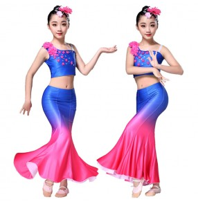 Girls royal blue belly dance dresses mermaid peacock modern dance drama photography competition stage performance costumes dresses