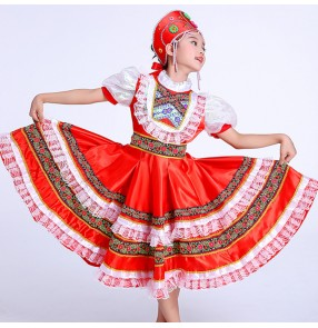Girls Russian folk dance costumes dress European palace princess party stage performance drama cosplay dresses costumes dresses