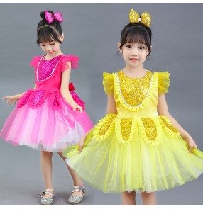 Girls sequins flowers princess stage performance choir dresses for kids kindergarten modern dance chorus dresses host singers performance dresses