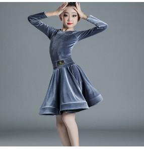 Girls Silver black velvet Latin Dance Costume competition Latin dance dress for kids children long-sleeved practice ballroom dance dress