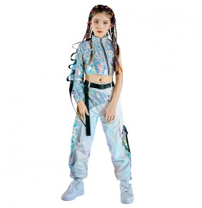 Girls silver laser Jazz dance clothes children catwalk gogo dancers fashion clothes street rap dance practice clothes girls hip-hop suit