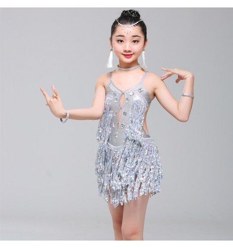 Girls silver sequin fringes latin dance dresses kids children school  competition stage performance salsa rumba chacha dance dresses costumes