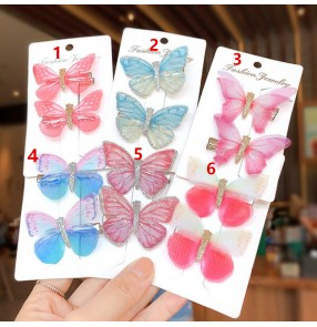 Girls stage performance butterful hair clip  hairpin anime fairy drama cosplay hair accessories one pair