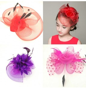 Girls stage performance fashion headdress pillbox hat singers host evening party model show cosplay hair accessories