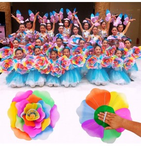 Girls stage performance rainbow colored hand flowers  jazz cheerleaders stage performance flowers props 30cm