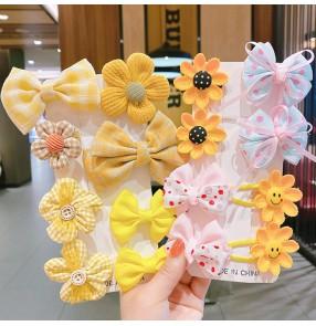 Girls sun flower bow headdress Child hairpin little girl hanfu fairy flowers barrette Hair clip baby clip cute princess flower head hair accessories