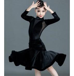 Girls velvet latin dance dress wine red black dark green ballroom dance long length latin dance dress for children