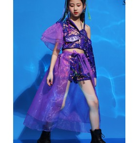 Girls violet colored Fashion model catwalk show clothes children jazz dance tuxedo costumes Hip hop girl gogo dancers dance outfits