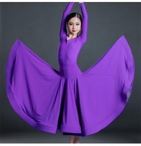 Girls violet purple blue ballroom dancing dress for kids juvenile stage performance waltz tango ballroom dance long dresses outfits for children