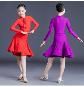 Girls violet red Latin ballroom dance dress for children's long-sleeved suit training competition performance professional dance costumes for kids