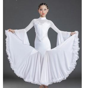Girls white colored ballroom dance dresses kids ballroom Performance competition skirt children's ballroom performance costume waltz tango dance dress