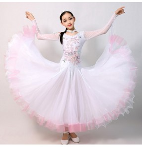 girls White colored  diamond competition professional ballroom dancing dresses rhinestones waltz tango flamenco dance dresses