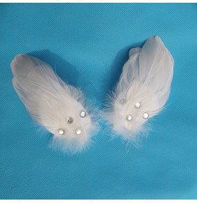 Girls white feather swan lake ballet dance headdress  ballet dance hair accessories one pair