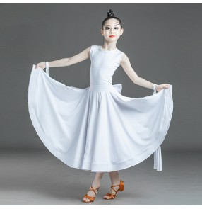 Girls white lace ballroom dance dress for kids back with bowknot ballroom latin dance dress for girls stage performance ballroom dance costumes