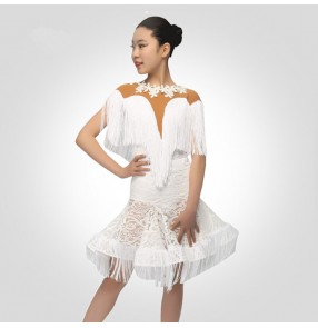 Girls white latin dance dresses bling stones children ballroom rumba chacha salsa competition stage performance dance dresses skirts