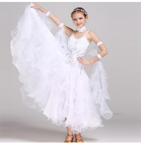 Girls white pink red ballroom dance dresses kids children stage performance competition professional ballroom dance skirts waltz tango dance dresses