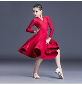 girls Wine red light coffee long sleeves ballroom dance dresses latin dance dress latin dance costumes for kids children