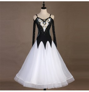 Girls women ballroom dance dresses black with embroidered modern dance waltz tango dance skirts dress