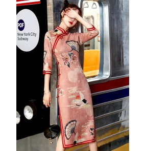 Girls women red black printed chinese dresses traditional cheongsam qipao dresses mid-length dress half sleeves suede show host singers miss etiquette cheongsam