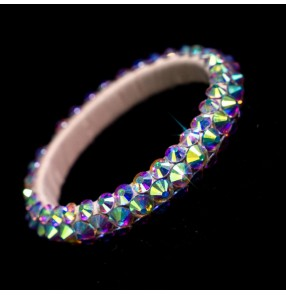 Girls women's competition belly latin ballroom dance rhinestones bracelet bangles hand chain