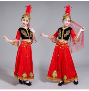 Girls xinjiang dance dresses uyghur minority stage performance dresses red colored drama chinese folk dance costumes