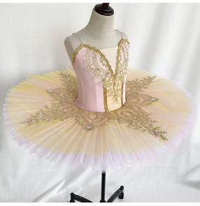 girls Yellow pink tutu skirt little swan lake ballet dance costumes for kids Professional Ballet Tutu Children's Stage Costume Puffy Tutu Skirt