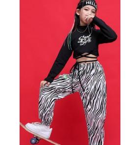 Girls zebra printed jazz hiphop street dance clothes  hip hop dance practice suit girl hip-hop style performance costume