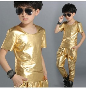 Gold black leather short sleeves fashion boys kids children performance school play harem pants hip hop jazz dj ds singer dance costumes outfits dance wear