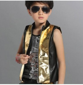 Gold black patchwork sleeveless turtle neck boys kids leather motor cycle fashion  school play children stage performance jazz dj singer hip hop dancing waistcoat vest tops