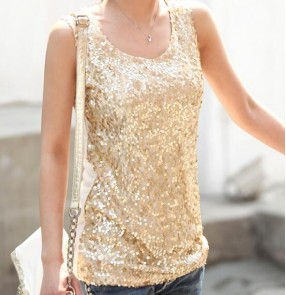 Gold black sequins glitter v neck girls women's casual loose style night club jazz performance singers pole dance vests tops