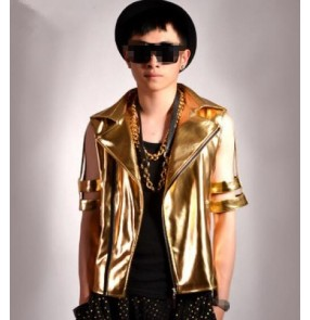Gold hollow short sleeves pu leather lapel collar men's male adult competition hip hop jazz dj singer punk rock bar t show play performance dance outfits jacket coat costumes