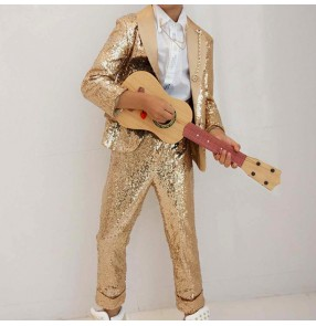 Gold jazz dance costumes kids children boy stage performance  singers party show model photos drummer competition outfits coat and pants
