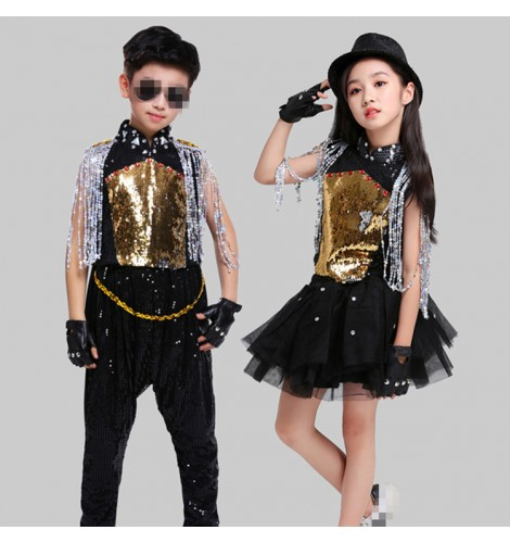 40595fc1839f Gold modern dance hiphop street dance costumes for girls boys jazz dance  stage performance singers gogo dancers competition outfits dresses