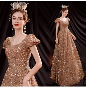 Gold sequins puff sleeve banquet piano performance Dresses Conductor cantata bel canto solo wedding evening party dress